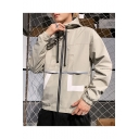 Mens New Fashionable Plain Long Sleeve Casual Drawstring Hooded Zip Up Jacket