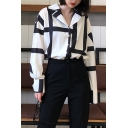 Chic Black Geometric Printed Notched Lapel Collar Chiffon Long Sleeve White Shirt Coat