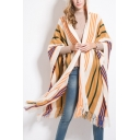 Ladies Stripes Print Tassel Hem Hoodie Tunic Cape Cardigan