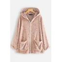 Colorful Polka Dot Loose Long Sleeve Hooded Zipper Padded Jacket Coat