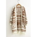 Simple Geo-Tribal Print Tassel Hem Boxy Long Sleeve Cardigan for Women