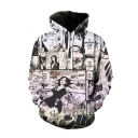 One Piece Black and White Comic Figure Printed Long Sleeve Unisex Drawstring Pullover Hoodie