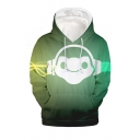 Popular Fashion Game Comic Figure 3D Printed Long Sleeve Green Loose Fit Pullover Hoodie
