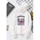 New Fashion Letter CANADAN Ice Cream Printed Long Sleeve Unisex Pullover Hoodie