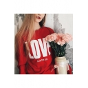 LOVE IS IN THE AIR Letter Print Round Neck Long Sleeve Pullover Sweatshirt