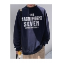 Simple Fashion Letter THE MAGNIFIGENT SEVEN Printed Long Sleeve Round Neck Casual Sports Pullover Sweatshirts
