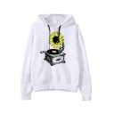 New Trendy White Long Sleeve Gramophone Sunflower Printed Loose Hoodie