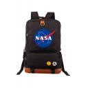 Letter NASA Logo Printed Large Capacity Laptop Bag Travel Bag School Backpack