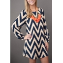 Womens Fashion Round Neck Long Sleeve Zig Zag Striped Shift Midi Dress