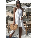 Womens Beach Sexy Halter Sleeveless Split Front Backless White Asymmetrical Swing Midi Dress