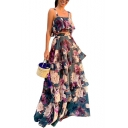 Womens Hot Fashion Square Neck Sleeveless Floral Print Tiered Ruffles A-Line Two Piece Dress