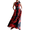 Womens Summer Modest Round Neck Sleeveless Floral Print A-Line Maxi Dress