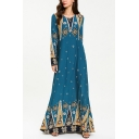 Womens New Stylish Round Neck Long Sleeve Floral Tribal Print Blue Knit Swing Maxi Dress