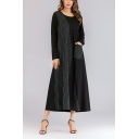 Womens New Stylish Round Neck Long Sleeve Striped Panelled Pockets Black Swing Maxi Dress