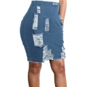 Hot Sale High Waist Zip Black Frayed Denim Jean Bodycon Midi Skirt