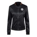 Street Style Applique Stand Up Collar Corduroy Zipper Casual Padded Jacket Coat