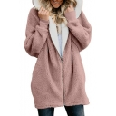 Winter's Hot Fashion Simple Plain Hooded Long Sleeve Elastic Cuffs Long Fur Coat