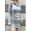 Womens Sexy Hoodie Long Sleeve Button Up Ruched Plain Sheath Mini Dress