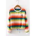 New Fashion Avocado Embroidered Round Neck Long Sleeve Colorful Striped Sweatshirt