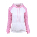 New Stylish Drawstring Hood Color Block Long Sleeve Hoodie With Pocket
