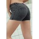 Womens Hot Popular Plain Button Front Stretch Fit Peach Hip Sport Bodybuilding Denim Shorts