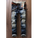 Men's Hot Fashion Simple Plain Blue Vintage Washed Cool Frayed Ripped Slim Fit Jeans