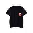 Popular Simple Letter R Pattern Round Neck Short Sleeve Unisex Tee