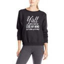 Womens Stylish Long Sleeve LOSE MY MIND Printed Pullover Boyfriend Sweatshirt