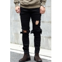 Men's Hot Fashion Solid Color Knee Cut Black Frayed Ripped Biker Jeans with Holes