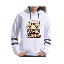 Unique White Striped Long Sleeve Cartoon Cat Letter Who Care Printed Pullover Hoodie