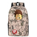 Trendy Cartoon Comic Character Letter Logo R Printed Students Camo School Bag Backpack 45*31*15cm