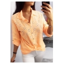 Hot Popular Plain Long Sleeve Lapel Collar Cutout Button Down Knotted Front Leisure Shirt
