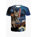 Blue Short Sleeve Round Neck 3D Cat Galaxy Mouse Cartoon Printed Loose Straight Tee