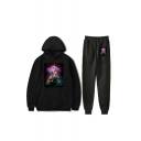 Trendy Hot Sale Stranger Things Long Sleeve Cartoon Printed Pocket Front Hoodie with Drawstring Waist Sport Pants Two-Piece Set