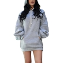 Personalized Long Sleeve Plain Casual Loose Hoodie with Pocket