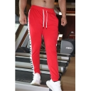 Men's New Fashion Colorblock Letter EVOLUTION BODY Printed Drawstring Waist Sports Sweatpants