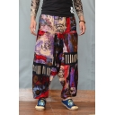 National Style Unique Printed Purple Baggy Drop-Crotch Linen Harem Pants for Men