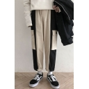 Men's Trendy Colorblock Flap Pockets Side Loose Fit Canvas Straight Cargo Pants