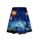 Fashion Womens Elastic Waist Halloween 3D Cartoon Printed Mini A-Line Skirt