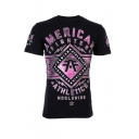 Hot Trendy AMERICAN Letter Printed Short Sleeve Round Neck Unique T Shirt