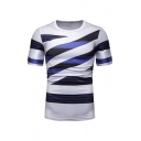 New Arrival White Short Sleeve Round Neck Striped Printed Slim Leisure T-Shirt
