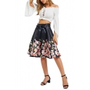Summer Street Style Bow Waist Floral Printed Black Mini A-Line Flared Skirt