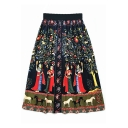 Ethnic Style Elastic Waist Floral Figure Tribal Printed Mysterious Vintage Cotton Linen Midi A-Line Skirt
