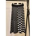 Black High Waist Polka Dot Printed Flared Maxi Knitted A-Line Skirt