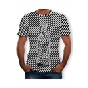 Hot Street Style Young Mans Glass Striped Printed Short Sleeve Round Neck Straight Tee