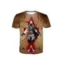 Summer Hot Sale Short Sleeve Round Neck ASSASSIN'S Letter Warrior Printed Brown T-Shirt