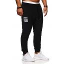 Men's Hot Fashion Four Bars Stripe Pattern Black Drawstring Waist Sports Sweatpants