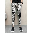 Men's Cool Fashion Camouflage Printed Pocket Embellished Drawstring Waist Casual Slim Pencil Pants