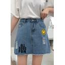 ALL GOOD FUN Letter Smile Face Printed High Waist Mini A-Line Denim Skirt for Cute Women