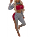 Long Sleeve Hoodie with Elastic Waist Colorblock Sheer Patch Leisure Two Piece Set